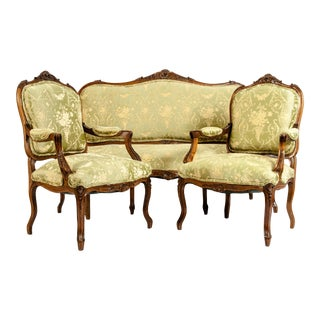 Very Fine Mid-19th Century Mahogany Wood Frame Salon Suite - Set of 3 For Sale