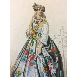 19th Century French Original Engraving Historic Fashion Plate, Hand-Tinted - Woman of Martinique For Sale