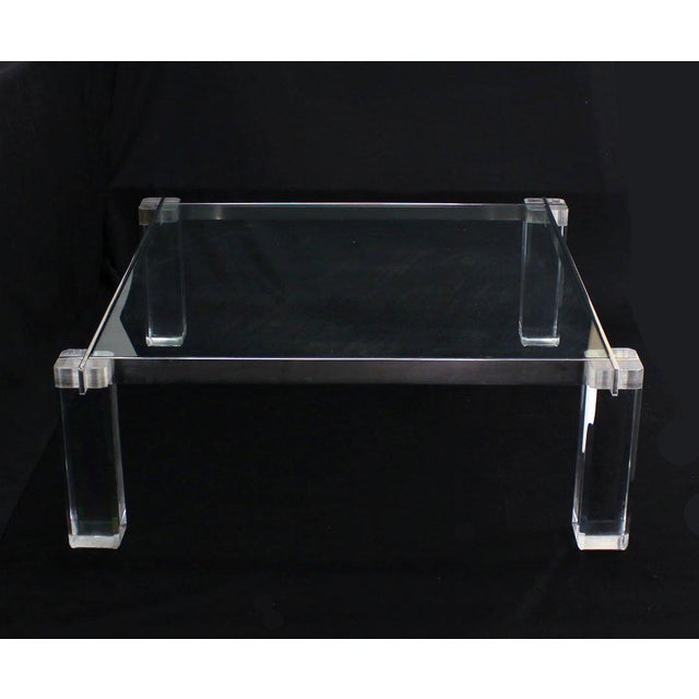 Mid 20th Century Vintage Mid Century Lucite Base Large Square Coffee Table For Sale - Image 5 of 9
