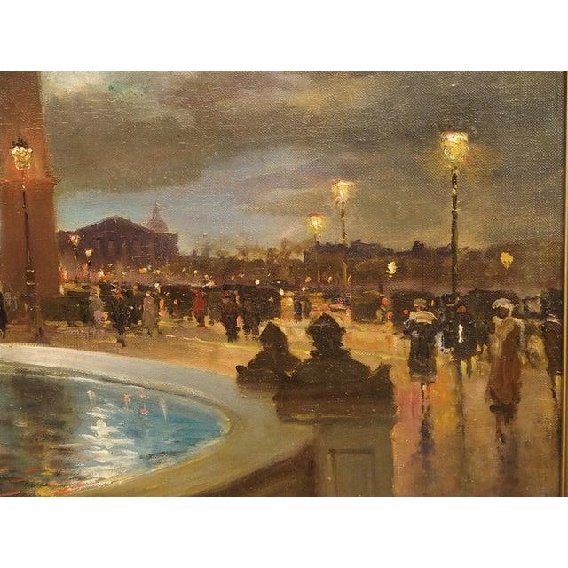 """Canvas """"Evening at La Place De La Concorde, Paris"""" Painting by Paul Balmigere (1882-1953) For Sale - Image 7 of 13"""