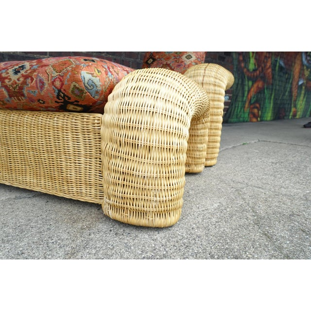 Rattan Lounge Chair With Ottoman For Sale In Cleveland - Image 6 of 12