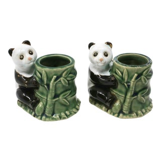 Vintage Panda Bear and Bamboo Planters - Set of 2 For Sale