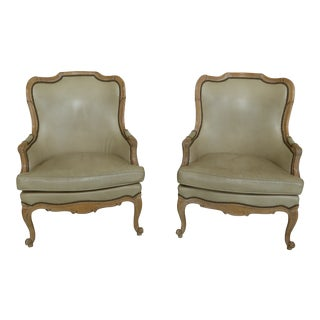 Hancock Tan or Beige Leather French Style Arm Chairs - a Pair For Sale