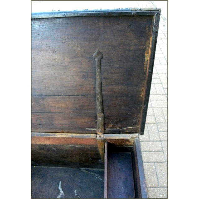 19th Century Sinhalese Sri Lanka Teak & Brass Trunk For Sale - Image 4 of 13