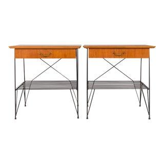 Vintage Danish Mid Century Teak and Wire Nightstands — Pair For Sale
