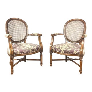 French Louis V Style Upholstered Wood Armchairs - a Pair