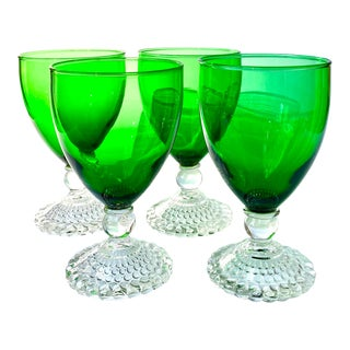 Mid 20th Century Emerald Green Drinking Glasses - Set of 4 For Sale