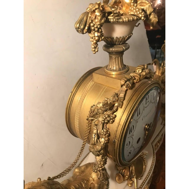 Gold Elegant 18th Century French Ormolu Marble Clock and Garniture For Sale - Image 8 of 10