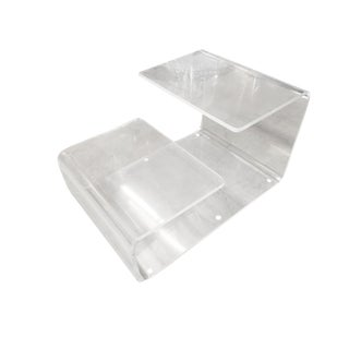 Transparent Acrylic Side Table With Multi-Purpose Two Tier Table Tops For Sale