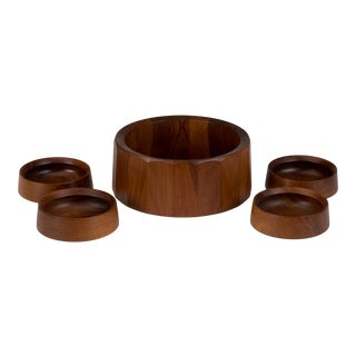 Early Dansk Quistgaard Ihq Jhq Faceted Teak Salad Centerpiece Bowl 4 Unmarked Serving Bowls For Sale