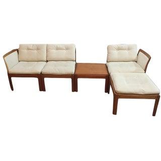 Vintage Mid Century Illum Wikkelso Plexus Teak Seating- 4 Pieces For Sale