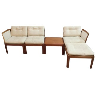 Vintage Mid Century Illum Wikkelso Plexus Teak Seating- 6 Pieces For Sale