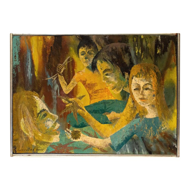 """""""Meditation"""" Oil Painting by Charlotte Ross Circa 1960 For Sale"""