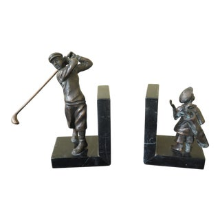 Signature Statuary Bronze & Marble Golfer Bookends - a Pair For Sale
