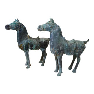Bronze Patina Asian Horse Sculptures - a Pair For Sale