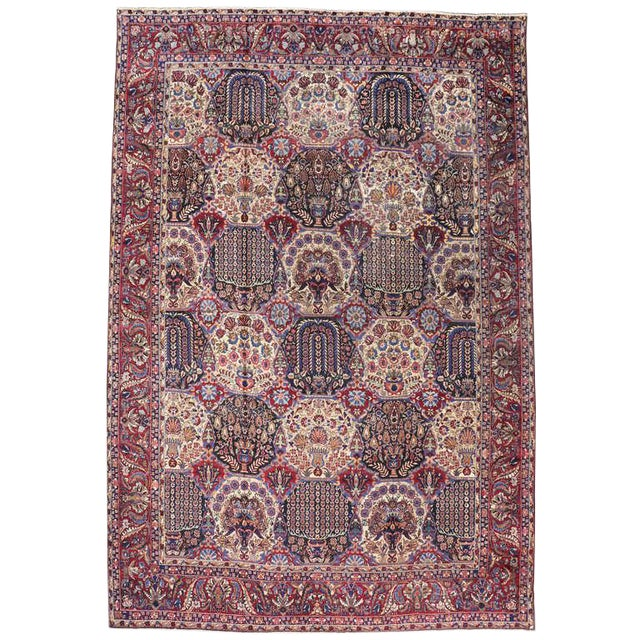 Oversize Antique Persian Yazd with Garden Design in Jewel-Tone Colors For Sale