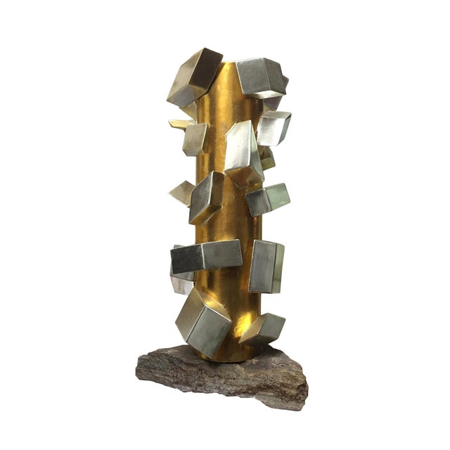 Abstract Gilt White Gold Cubist Sculpture by MarGian Studio For Sale - Image 3 of 3