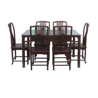 Chinese Rosewood Rectangular Dining Set For Sale