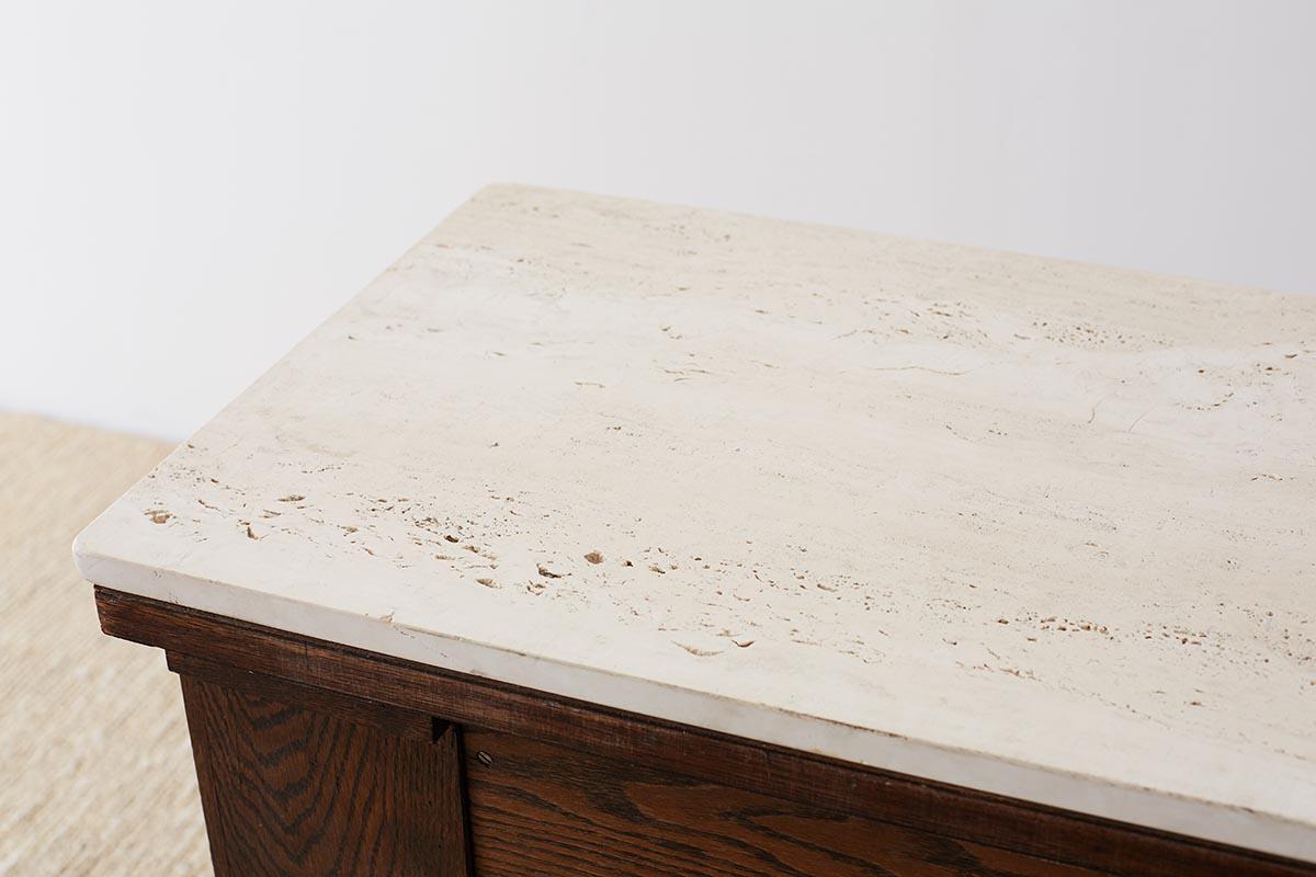 English Arts /& Crafts Oak and Travertine Desk