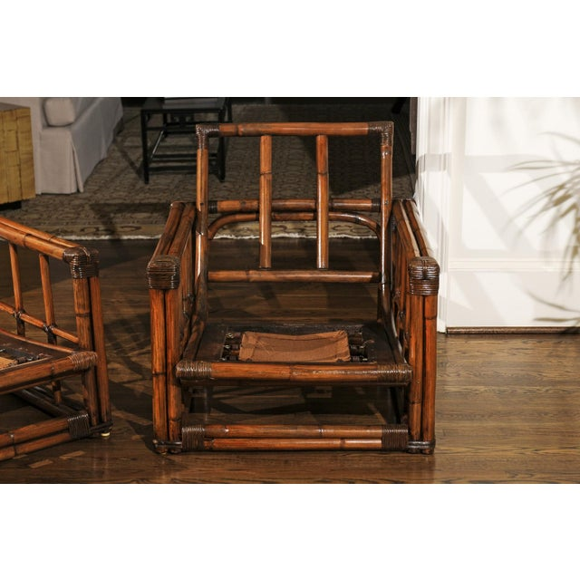 A Warm and Mellow Restored Pair of Cube Loungers by Ficks Reed, Circa 1970 For Sale - Image 9 of 11