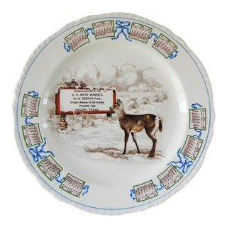 1928 Advertising Calendar Plate With Deer For Sale
