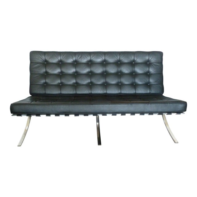 Mid-Century Barcelona Ludwig Mies Van Der Rohe Style Sofa For Sale
