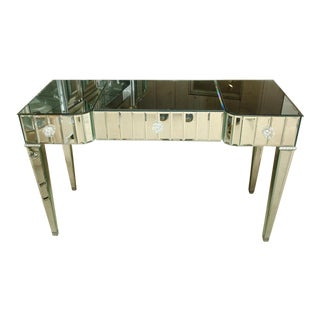 Spectacular Mirrored 3-Drawer Vanity/Desk For Sale