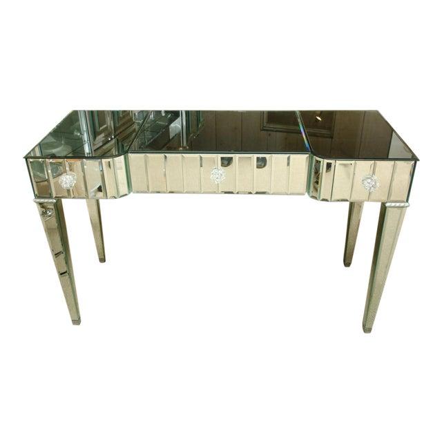 Spectacular Mirrored 3-Drawer Vanity/Desk For Sale