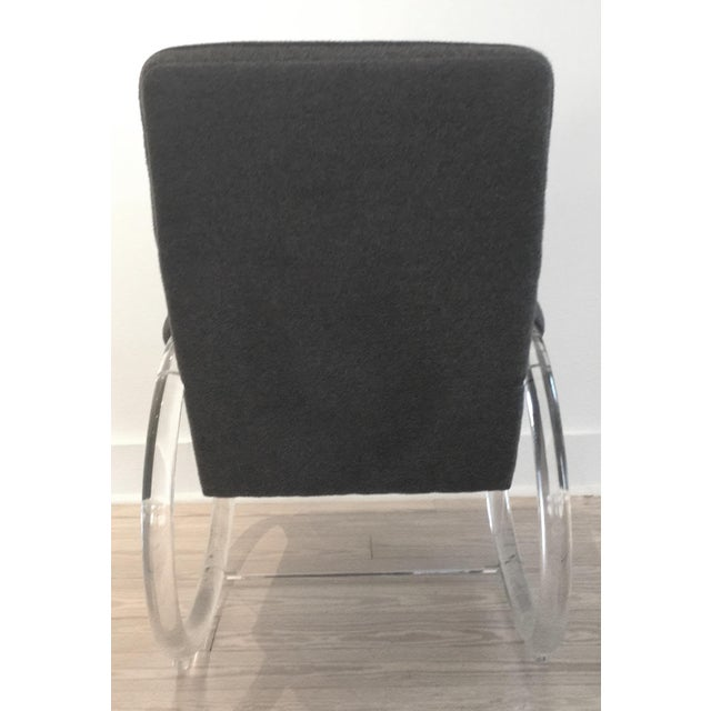 Charles Hollis Jones 1970s Charles Hollis Jones Lucite Steel Grey Alpaca Upholstered Rocker For Sale - Image 4 of 5