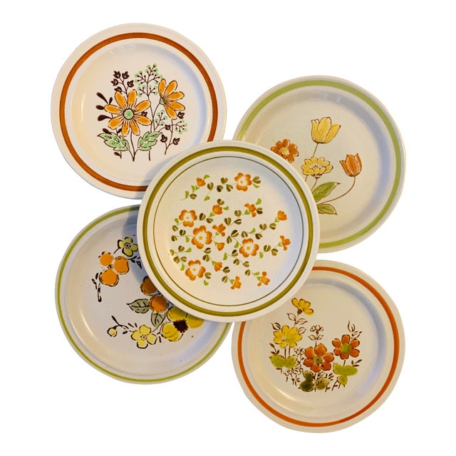 Vintage Country Mismatched Salad Plates - Set of 5 For Sale