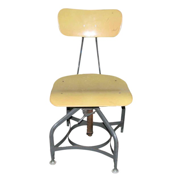 Vintage Toledo Industrial Adjustable Yellow Stool For Sale