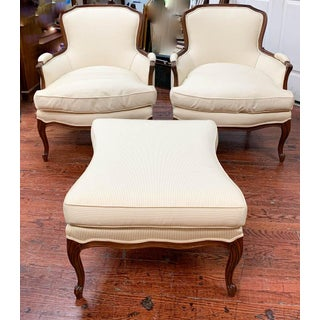 Pair of French Arm Chairs With Bow Tie Ottoman Preview
