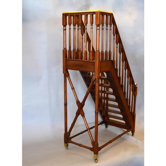 Architectural Decorative Victorian Walnut & Brass Library Steps, Ladder, Stairs For Sale In Miami - Image 6 of 13
