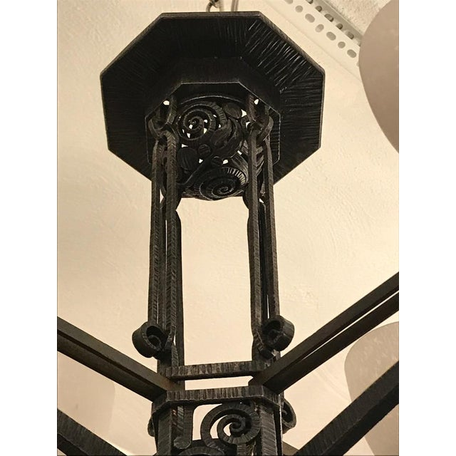 Metal Edgar Brandt Style French Art Deco Chandelier For Sale - Image 7 of 12