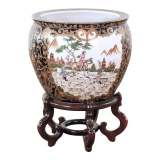 Decorated Chinese Golden Famille Fish Bowl With Stand For Sale