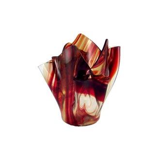 Hand Blown Serviente Rust and Clear Handkerchief Vase For Sale