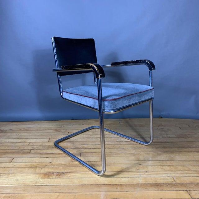 C1940 Tubular Chrome Cantilever Armchair, Velvet Seat For Sale In New York - Image 6 of 9