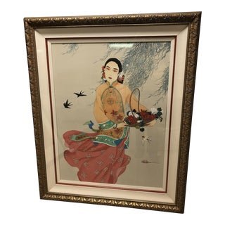 1980s Caroline Young Flower Maiden Watercolor on Silk Painting For Sale