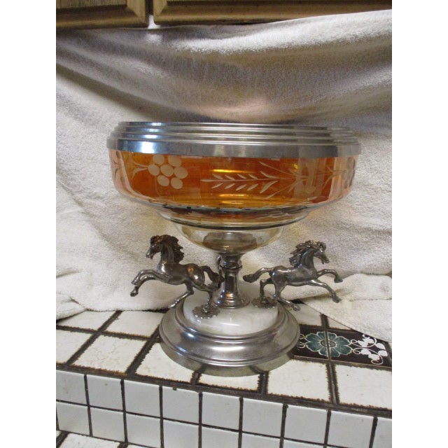 Orange Antique Horses on a Bohemian Metal Mounted Glass Epergne For Sale - Image 8 of 8