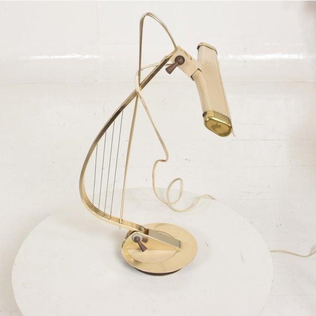 Mid-Century Modern Mid-Century Modern Sculptural Harp Shape Table / Desk Lamp For Sale - Image 3 of 10