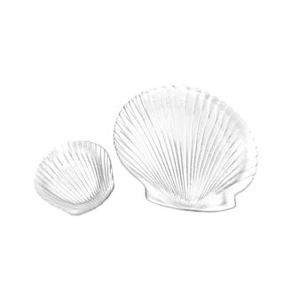 1960s Vintage Glass Clam Shell Chips & Dip Bowls - A Pair For Sale