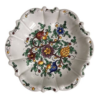Vintage Mid-Century Biagioli Ceramiche Italian Floral Tray/Plate For Sale