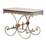 Image of Painted French Iron Butcher or Pastry Table With Marble Top and Brass Finials For Sale