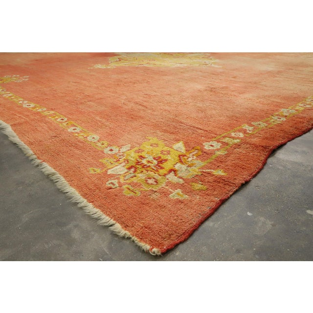 Distressed Antique Turkish Oushak Rug - 14'07 X 15'05 For Sale In Dallas - Image 6 of 10