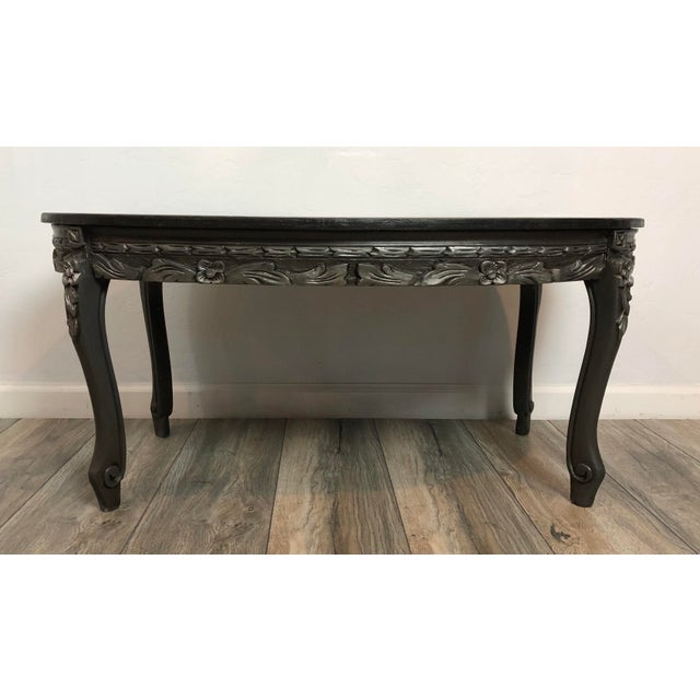 vintage oval ornate coffee table chairish. Black Bedroom Furniture Sets. Home Design Ideas