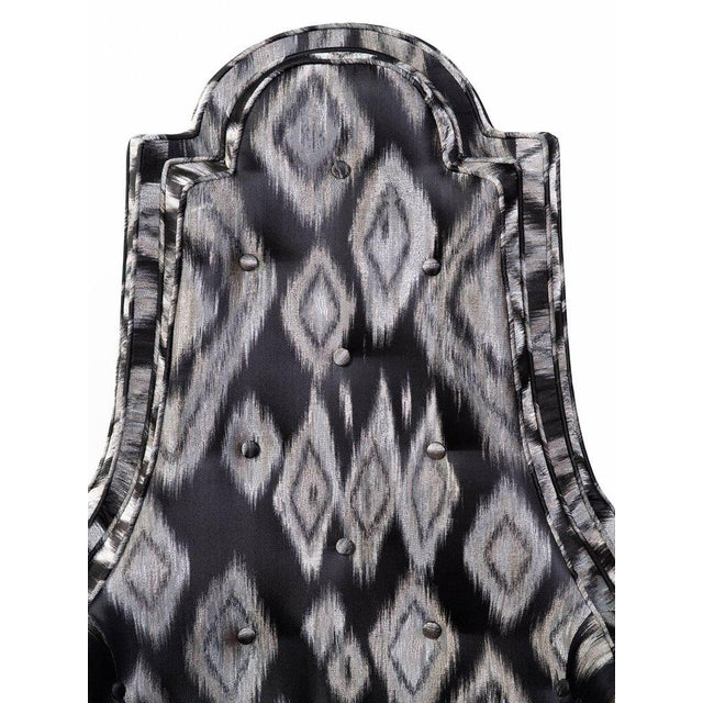Pair of Hollywood Regency High Back Lounge Chairs in Silk Ikat For Sale - Image 10 of 11
