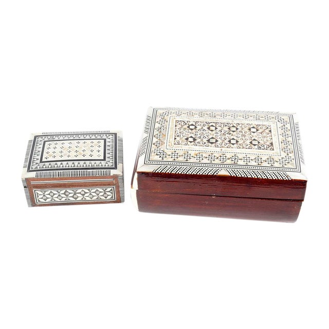 Inlaid Wood Jewelry Boxes - A Pair For Sale