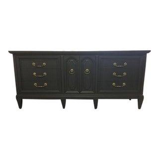 Italian Provincial Long Ebony Dresser