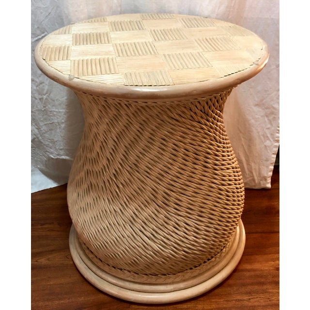 Contemporary Vintage Woven Rattan Ficks Reed McGuire Organic Style Table For Sale - Image 3 of 4