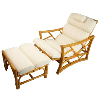 1950's Rattan Chaise Lounge & Ottoman - A Pair